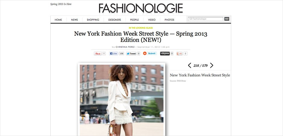 Ndoema The Global Girl featured in Fashionologie arriving at the BCBG Max Azria Spring 2013 Fashion Show during New York Fashion Week