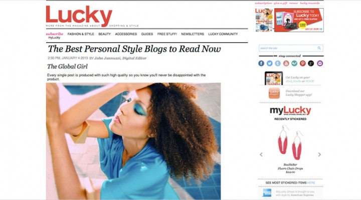 """Lucky Magazine names theglobalgirl.com one of """"The Best Personal Style Blogs"""""""