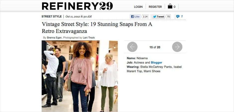 Ndoema The Global Girl is featured in Refinery29 wearing Stella Mccartney pants, Isabel Marant silk blouse, Marni shoes and vintage necklace