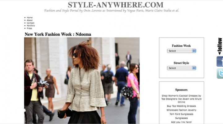 Ndoema The Global Girl is caught by the lens of international fashion and street style photographer Onin Lorente on Day 1 of New York Fashion Week, wearing a vintage jacket, Alexander Wang skirt, L.A.M.B. platform sandals and suede clutch by Sigerson Morrison