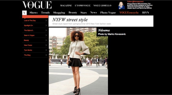 Ndoema The Global Girl featured in Vogue Italia as she arrives at the Lincoln Center during New York Fashion Week