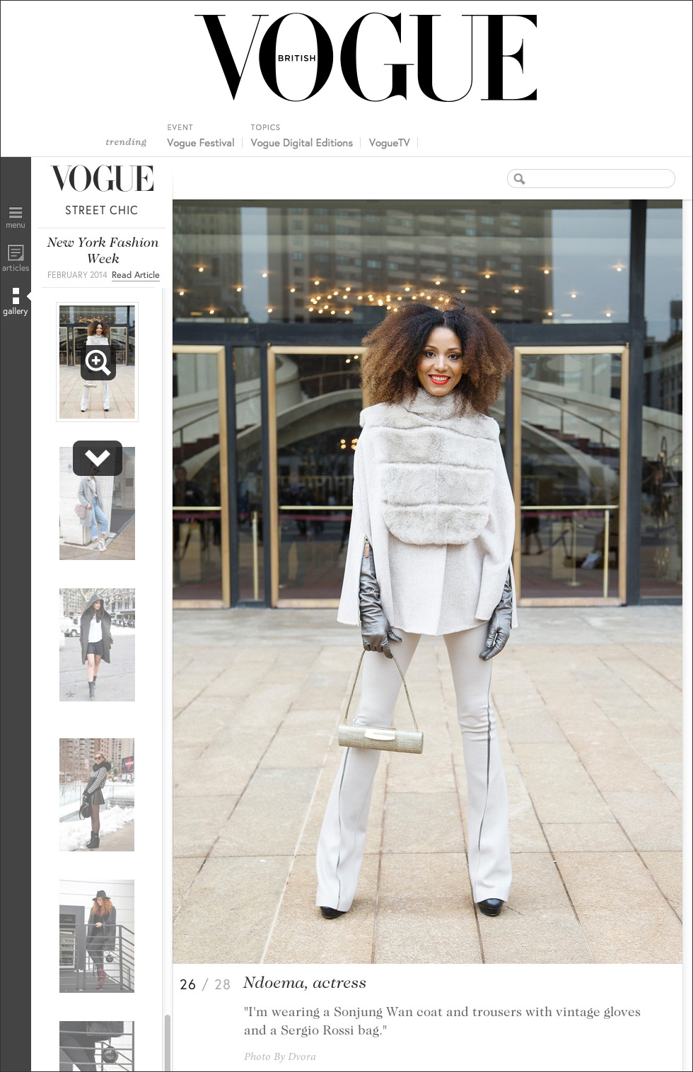 The Global Girl Press: Ndoema featured in British Vogue sporting Son Jung Wan beige cape and matching high-waisted flare pants with Sergio Rossi bag - New York Fashion Week Fall 2014