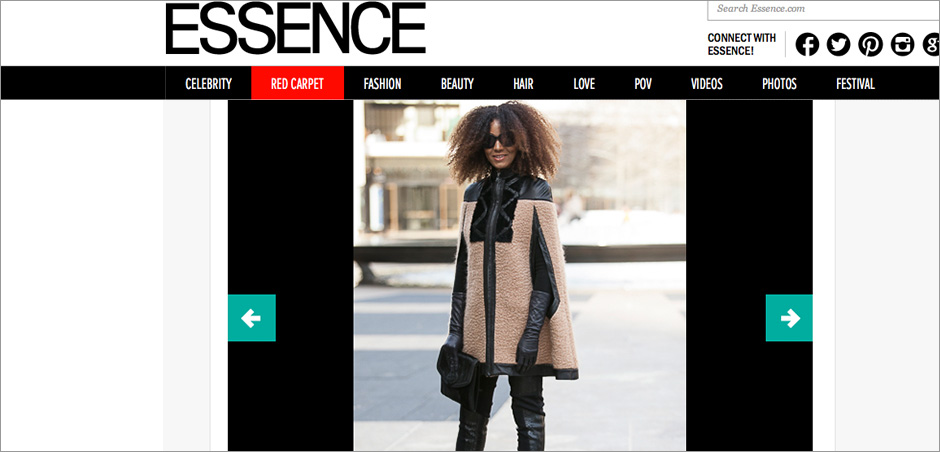 The Global Girl Press: Ndoema featured in Essence sporting Wool and leather trim cape with python and merino wool pants by Mimi Plange, Emanuel Ungaro bag and Chloé Sunglasses - New York Fashion Week Fall 2014