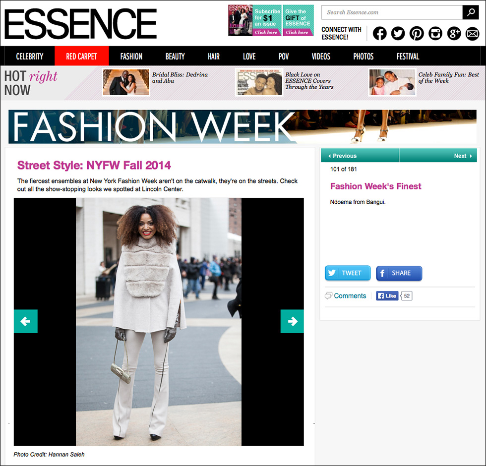 The Global Girl Press: Ndoema featured in Essence sporting Son Jung Wan beige cape and matching high-waisted flare pants with Sergio Rossi bag - New York Fashion Week Fall 2014