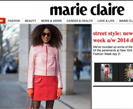 The Global Girl Press: Ndoema featured in Marie Claire Australia sporting a Prada pink leather jacket, Marc Jacobs miniskirt and LeSpecs cat eye mirrored sunglasses - New York Fashion Week Fall 2014