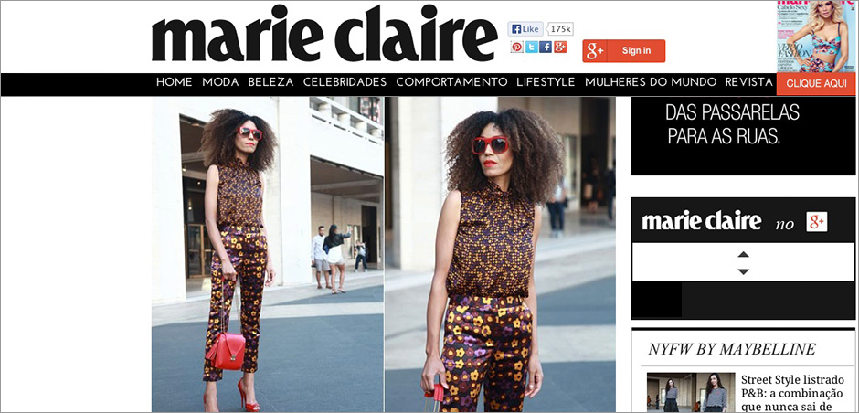 Ndoema in clashing head-to-toe floral print look - Marie Claire Brazil