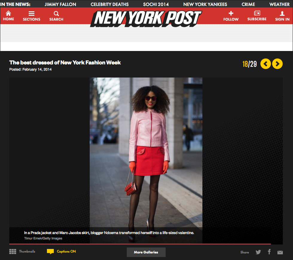 The Global Girl Press: Ndoema in The New York Post sporting a Prada pink leather jacket, Marc Jacobs miniskirt and quilted bag and LeSpecs cat eye mirrored sunglasses - New York Fashion Week Fall 2014