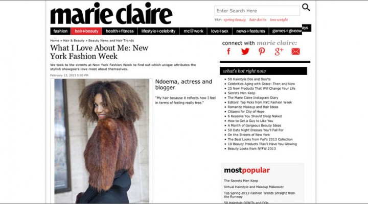 "The Global Girl: Ndoema featured in Marie Claire ""What I Love About Me"" beauty feature."