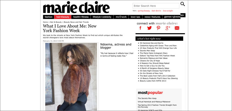 """The Global Girl: Ndoema featured in Marie Claire """"What I Love About Me"""" beauty feature."""