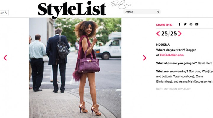 The Global Girl Press: Ndoema featured in Stylelist arriving on Day 1 of New York Fashion Week. Ndoema rocks a feathered fishtail top and shorts by Son Jung Wan, Ayaka Nishi spine necklace and bracelet, Onna Ehrlich custom-made bag and Topshop shoes.