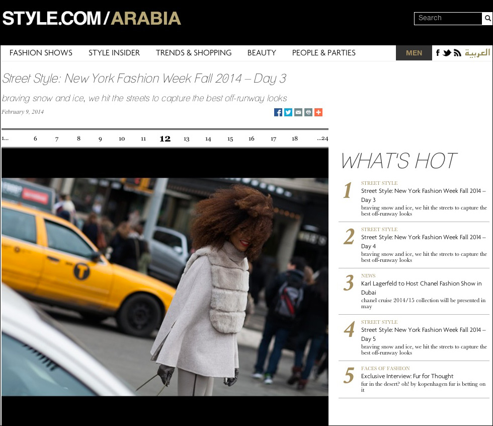The Global Girl Press: Ndoema featured on Style.com/Arabia sporting Son Jung Wang Fall 2013 - New York Fashion Week Fall 2014