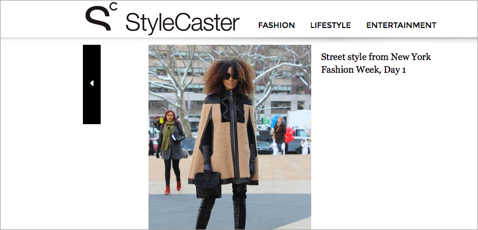 The Global Girl Press: Ndoema featured in StyleCaster sporting Wool and leather trim cape with python and merino wool pants by Mimi Plange, Topshop Stella platform booties, Emanuel Ungaro bag and Chloé Sunglasses - New York Fashion Week Fall 2014