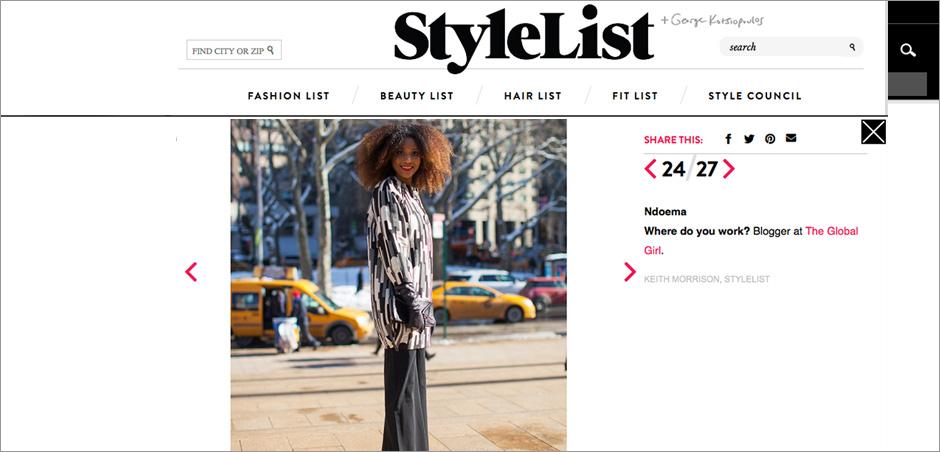 The Global Girl Press: Ndoema on Stylelist sporting Anna Molinari Coat, Dolce & Gabbana pants & Karen Millen clutch - New York Fashion Week Fall 2014