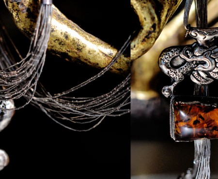 "The Global Girl - From Ndoema's Closet: ""Ouroboros"" Amber and Sterling Silver Antique Dragon Tibetan Necklace"