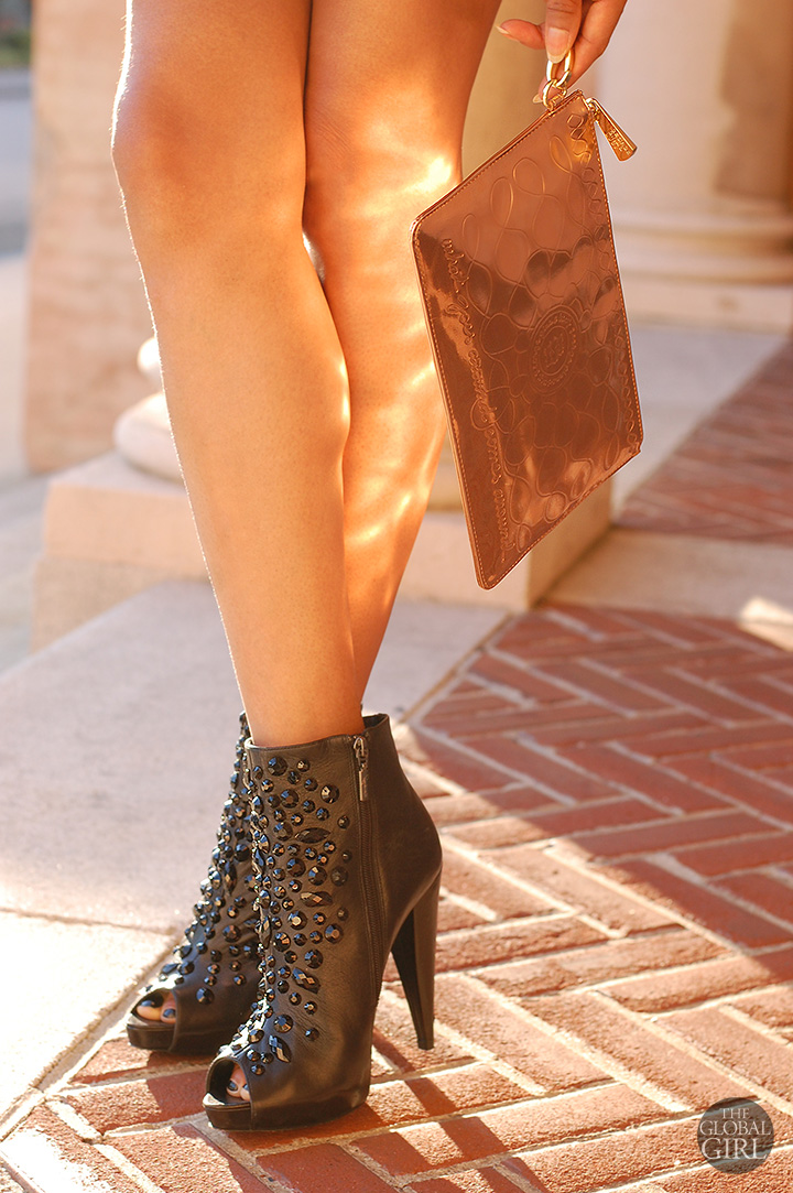 The Global Girl Daily Style: Jeweled booties by Report Signature and copper metallic clutch by George Gina & Lucy.