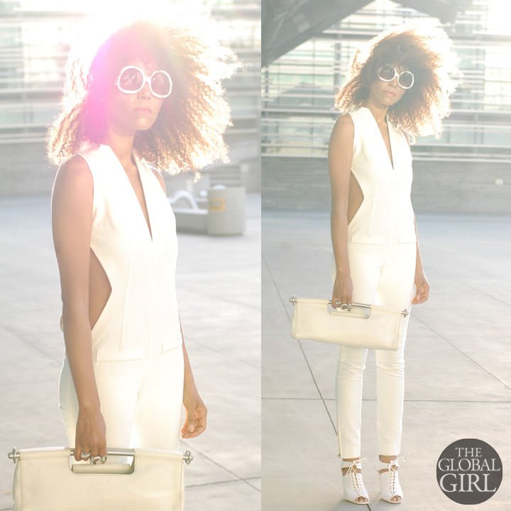The Global Girl Fashion Editorials: Ndoema rocks the all-white look: cut out jumpsuit from Son Jung Wang Spring 2014 runway collection   White frame oversized sunglasses by Balenciaga   White cut out lace-up sandals by Helmut Lang   White leather bag by Prada.