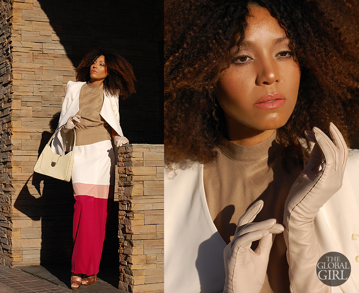 The Global Girl Fashion Editorials: Ndoema sports an Asian influenced look in silk floor-length skirt with front slit and matching sleeveless top by Mimi Plange. Gucci ivory patent leather bag. Satin slingback pumps by Prada. Vintage cream leather gloves. Vintage silk halter top.