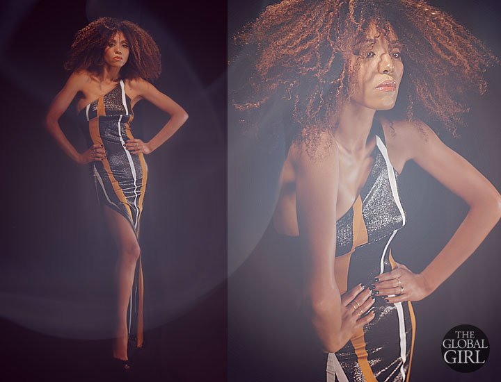 The Global Girl Fashion Cinema Series: Ndoema sports a one shoulder asymmetrical side-slit bandage wrapped gown by Miguel Antoinne with brushed gold rings and bracelets by Antonym.