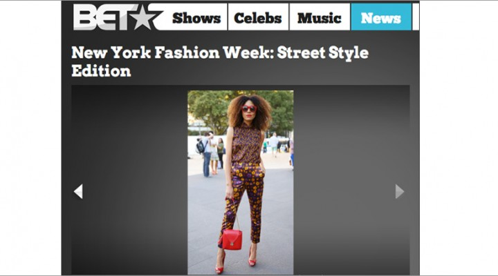 The Global Girl Press: Ndoema featured on BET in head-to-toe floral print look with red sunglasses, red patent leather shoes and red handbag during New York Fashion Week.