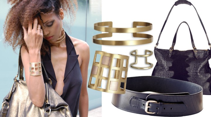 The Global Girl Fashion Week Looks: Ndoema rocks a Black & Gold look in Alexander Wang tuxedo halter top with plunging neckline, Onna Ehrlich Oversized gold metallic handbag and Maison Antonym gold vermeil choker, cuff and rings set. Vintage biker leather belt and Dolce Gabbana slit pants.