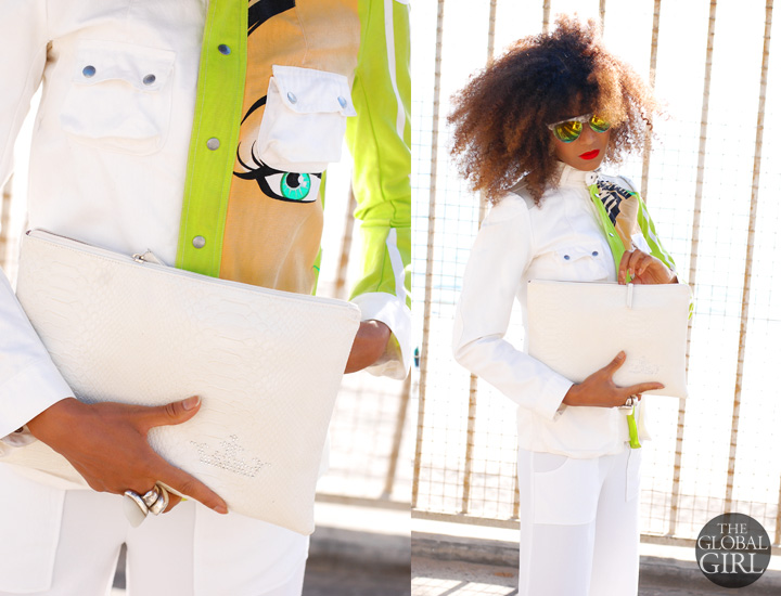 The Global Girl Daily Style: Ndoema rocks a printed jacket by Custo Barcelona, yellow and green mirrored white sunglasses and a white python clutch bag by Son Jung Wan.