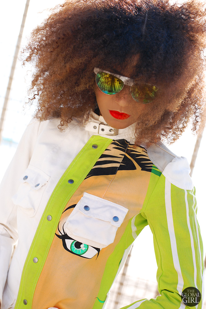 The Global Girl Daily Style: Ndoema rocks a printed jacket by Custo Barcelona with yellow and green mirrored white sunglasses.