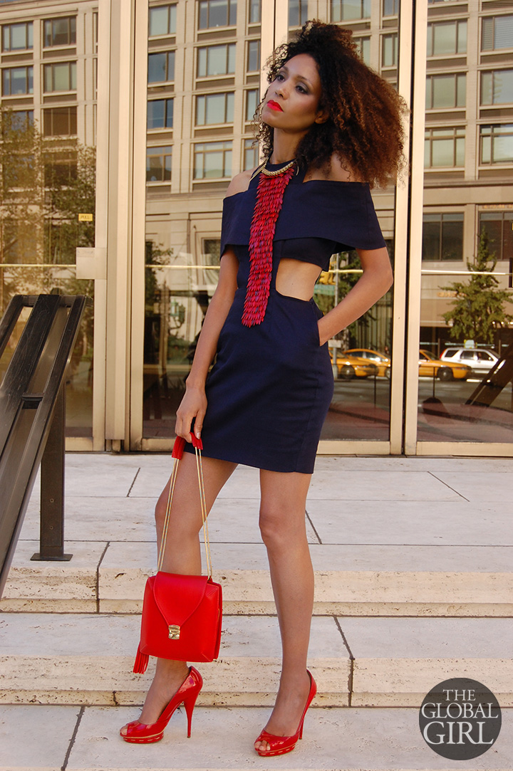 The Global Girl Daily Style: Ndoema rocks a cutout dress and red accessories with a fish scale leather necklace by Ayaka Nishi, Miu Miu patent leather shoes and red handbag by Onna Ehrlich
