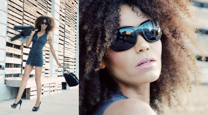 Ndoema wears a Diesel denim dress, Dolce And Gabbana Sunglasses and L.A.M.B. platform pumps
