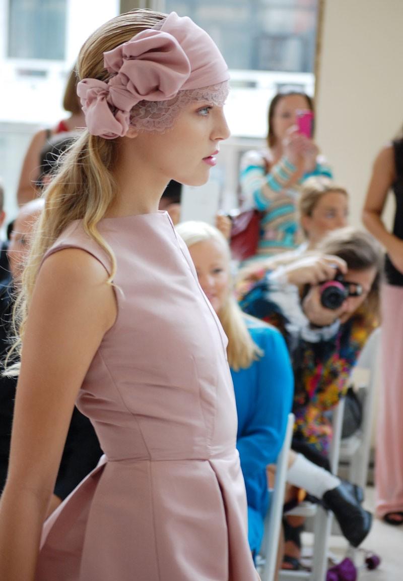 New York Fashion Week: Nina Skarra Spring 2013 Runway. Vintage pink dress and twenties inspired hairband