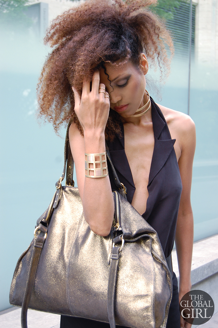 The Global Girl Fashion Week Looks: Ndoema rocks a Black & Gold look in Alexander Wang tuxedo halter top with plunging neckline, Onna Ehrlich Oversized gold metallic handbag and Maison Antonym gold vermeil choker, cuff and rings set.