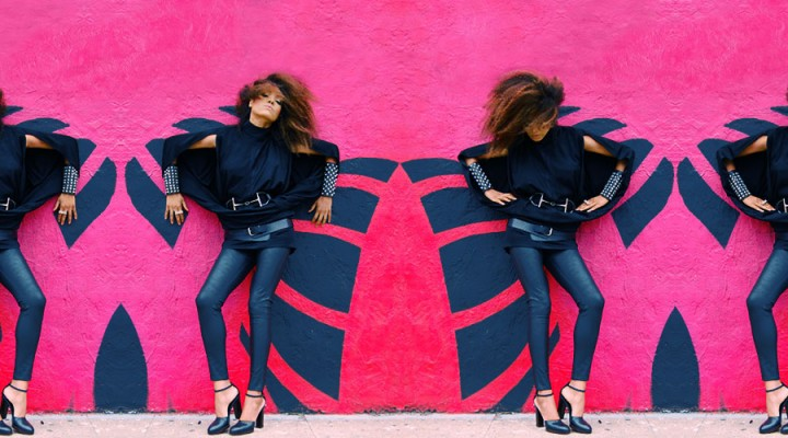 The Global Girl: Ndoema wears: Vintage Split sleeve blouse, Gucci patent leather belt, Silence & Noise wet look leggings, Gucci mary jane platform sandals, custom pyramid stud and leather cuffs