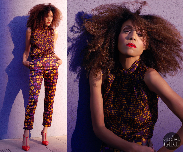 The Global Girl: Ndoema rocks a head-to-toe floral print look. Floral pants ensemble with Miu Miu red patent leather pointed-toe pumps and her trademark natural curls and bold red lip.