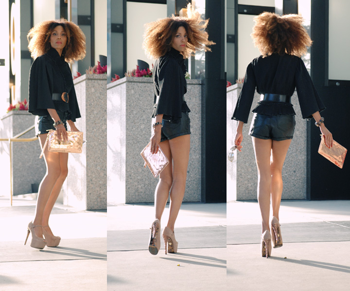 The Global Girl Daily Style: Ndoema wears H&M leather shorts, George Gina & Lucy copper metallic clutch bag, Betsey Johnson suede platform pumps, Christian Roth mirrored sunglasses and  a vintage kimono pleated top.