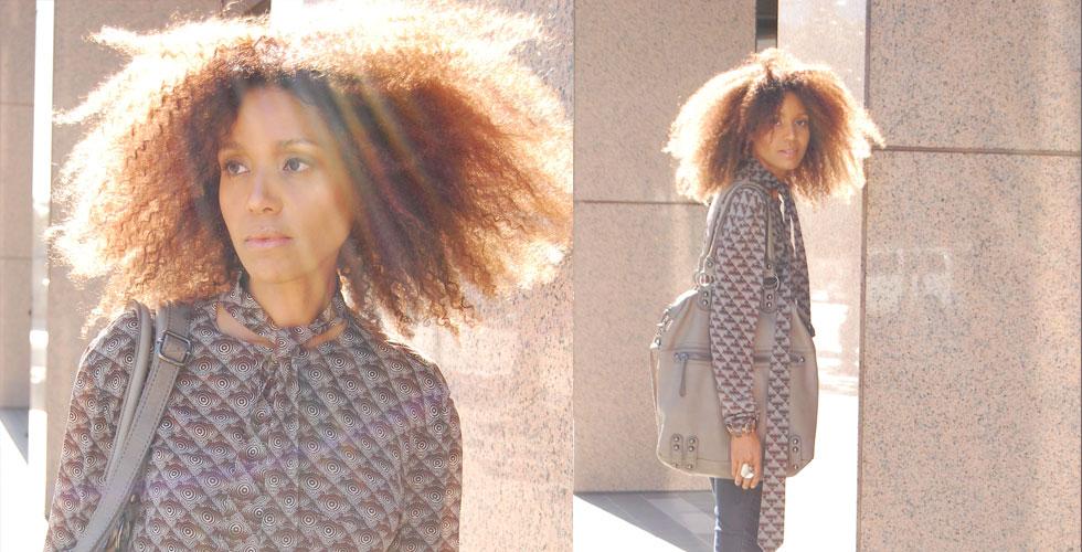 Ndoema The Global Girl wears a Jean-Paul Gaultier shirt, Stella McCartney jeans, platform sandals by L.A.M.B., Gucci belt and Linea Pelle bag.