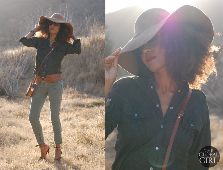 The Global Girl Daily Style: Ndoema rocks oversized monobrow shield sunglasses, vintage suede shirt and vintage floppy hat.