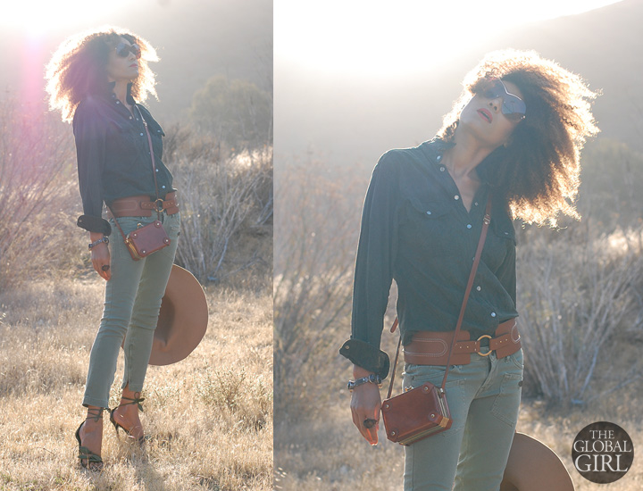 The Global Girl Daily Style: Ndoema rocks khaki skinny cropped jeans by Miss Sixty with Valentino ankle tie leaf sandals, oversized monobrow shield sunglasses, vintage cross body mini leather bag, Adrienne Vittadini wide tan belt and vintage suede shirt.