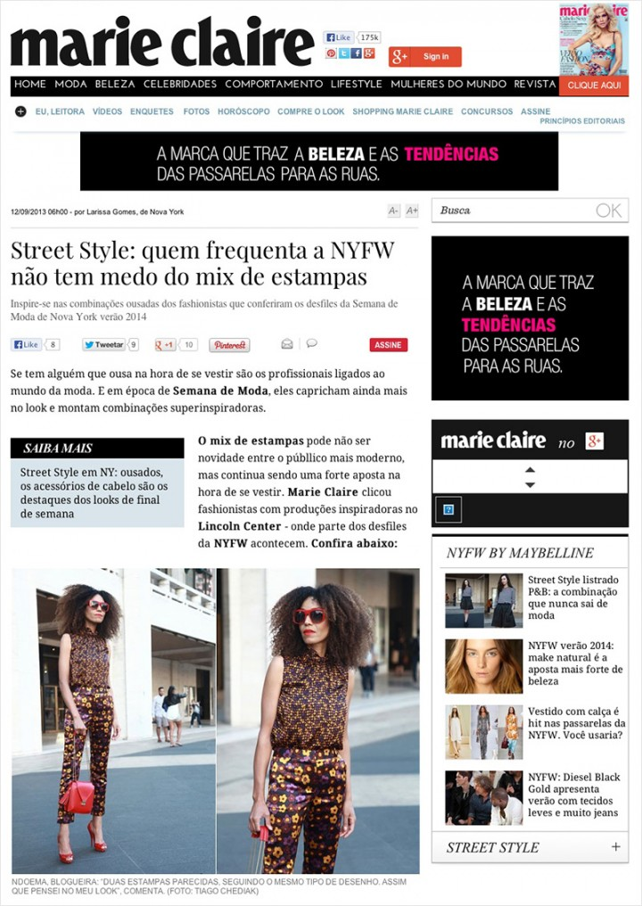 The Global Girl Press: Ndoema featured in Marie Claire Brazil in head-to-toe clashing floral print look with red sunglasses, red patent leather shoes and red handbag during New York Fashion Week