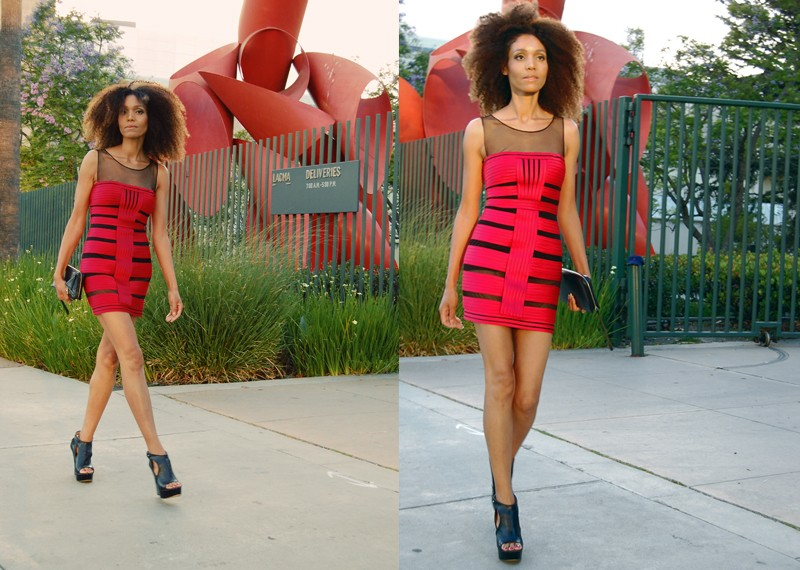 Ndoema wears a mesh bandage dress by BCBG Max Azria, Hugo Boss wedges and Karen Millen Clutch