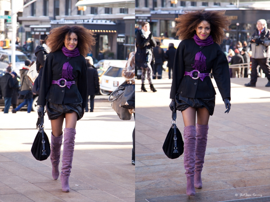 The Global Girl: Ndoema photographed by Joel as she arrives at Lincoln Center during New York Fashion Week. Ndoema wears thigh high suede boots by Nicholas Kirkwood, leather draped skirt by All Saints, black suede bag by Dolce & Gabbana, Karl Lagerfeld jacket and vintage leather gloves.