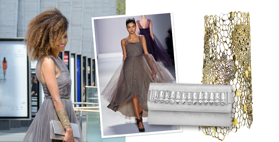 The Global Girl: Ndoema wears an off-the-runway tulle dress from Son Jung Wan, Onna Ehrlich silver metallic bag, Bronze and diamond cuff by Ayaka Nishi at New York Fashion Week