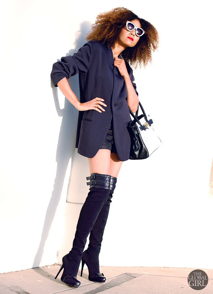 The Global Girl Daily Style: Ndoema rocks the black & white look in an oversized blazer by Emporio Armani, Y-3 by Yohji Yamamoto shorts, Report Signature thigh high boots and coordinate bag and sunglasses.