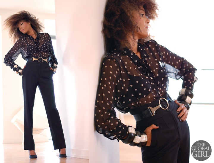 The Global Girl Daily Style: Ndoema rocks the polka dot look in a vintage polka dot sheer silk shirt, Dolce & Gabbana black wool high-waisted pants, Gucci python round-buckle Belt, vintage inlaid wood black and white bangle bracelets and Badgley Mischka pumps with gathered tulle.