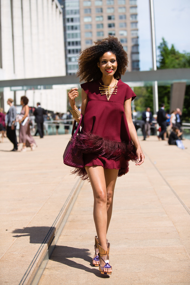 The Global Girl Press: Ndoema is lensed by photographer Jonathan Paciullo for Glamour Paris as she arrives at Lincoln Center during New York Fashion Week.