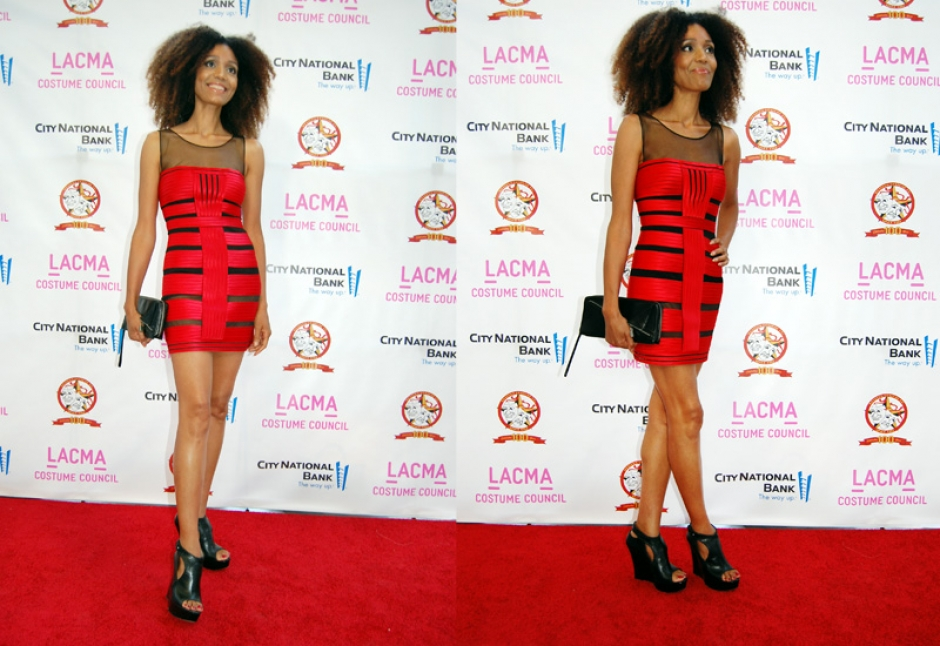 Ndoema on the red carpet at LACMA in a bandage dress by BCBG Max Azria, Hugo Boss leather wedges and Karen Millen clutch