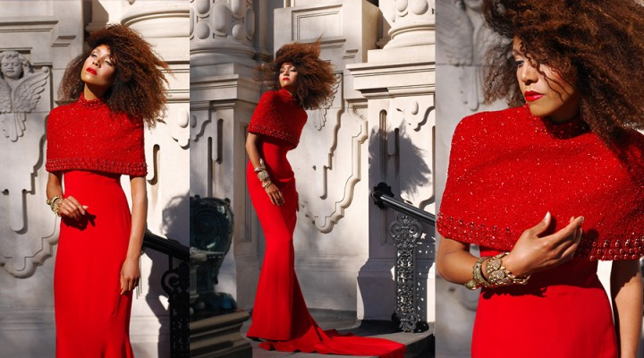 The Global Girl Fashion Editorials: Ndoema sports a red mermaid gown with hand-beaded and Swarovski crystals embellished Capelet by African Designer Mimi Plange.