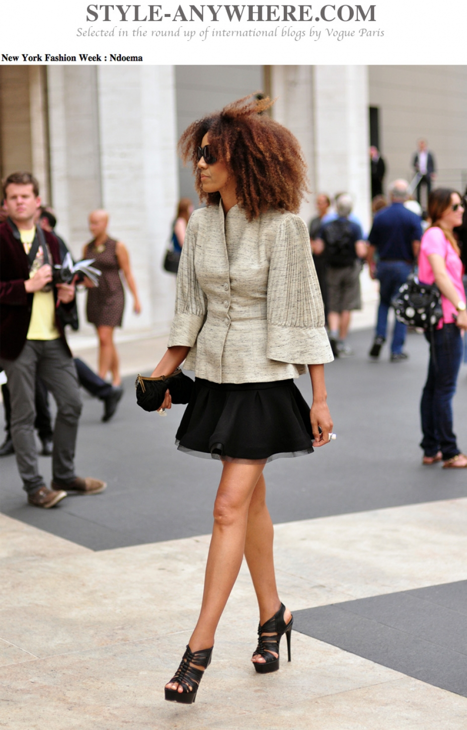 Ndoema wears Alexander Wang dress, L.A.M.B. platform sandals, Sigerson Morrison clutch and vintage jacket