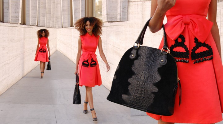 The Global Girl Daily Style: Ndoema rocks a vintage red bow dress, Gucci Shoes and black crocodile handbag.
