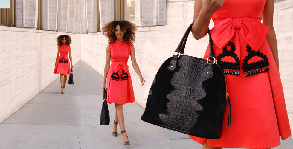The Global Girl Daily Style: Ndoema rocks a vintage red bow dress, Gucci Shoes and black crocodile handbag.