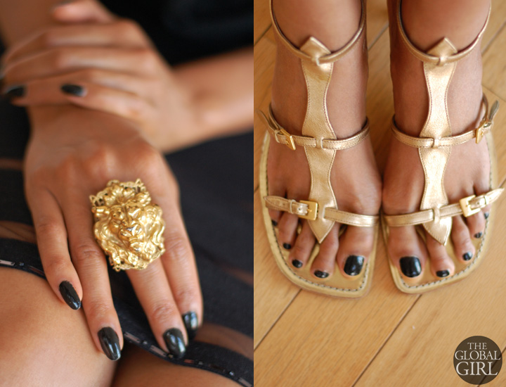 The Global Girl Daily Style: Ndoema rocks gold accessories with an oversized vintage gold lion ring and gladiator sandals by Sigerson Morrison
