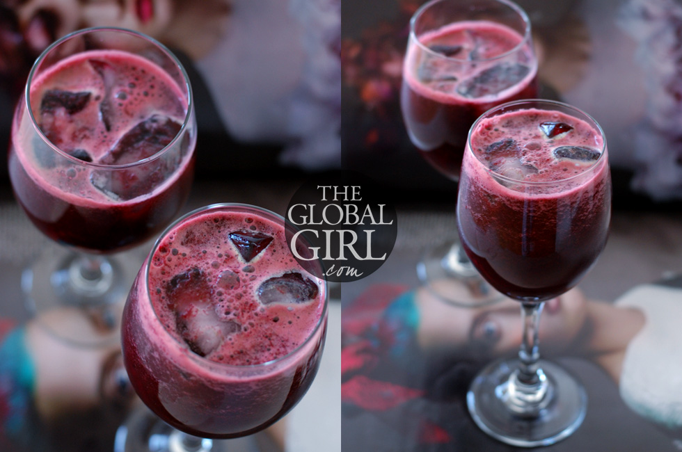 The Global Girl Juice Recipes: Ndoema's Beet & Pineapple Juice with her secret ingredient. A delicious and powerful detox elixir that cleanses the body, promotes weight loss, aids digestion, reduces bloating, flushes fat, beautifies hair and nails and promotes collagen synthesis (hello gorgeous skin!).